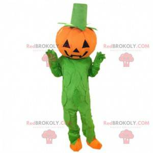 Orange und grünes Kürbiskostüm, Halloween-Maskottchen -