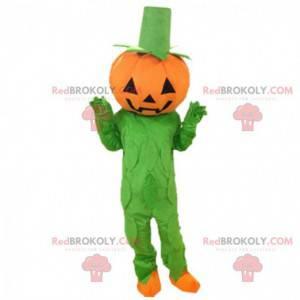 Traje de abóbora laranja e verde, mascote de Halloween -