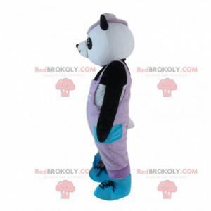 Panda maskot, černý a bílý medvěd oblečený v růžové -