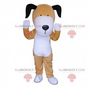 Brun og hvid hundemaskot, tofarvet doggie-kostume -