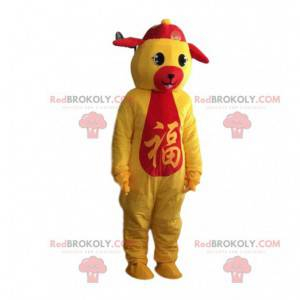 Čínský plyšový kostým žlutého a červeného zvěrokruhu -