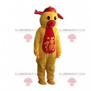 Traje de pelúcia amarelo e vermelho do zodíaco chinês para