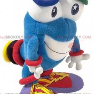 Mascota de muñeco de nieve azul con ojos grandes -