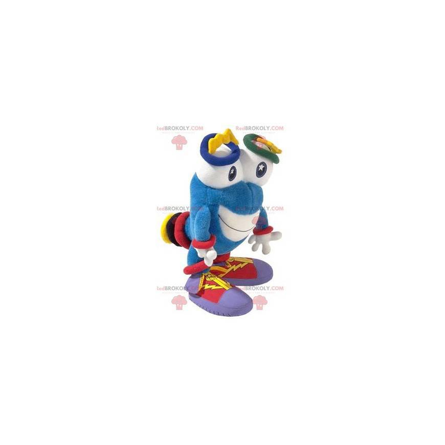 Maskot modrý sněhulák s velkýma očima - Redbrokoly.com
