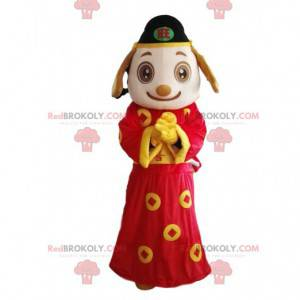 White and Brown Dog Costume Wearing Asian Outfit -