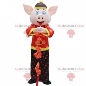 Pig costume in traditional Asian outfit - Redbrokoly.com