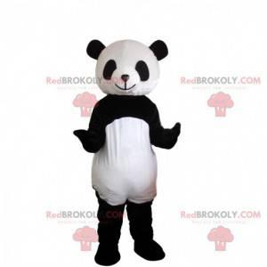 Fato de panda preto e branco, mascote urso asiático -