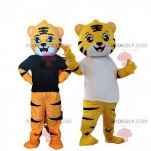 2 kostuums van gele en oranje tijgers, katachtige mascotte -