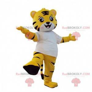 Fato de tigre amarelo, branco e preto, fantasia de felino -