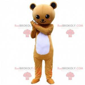 Fato de urso de peluche castanho e branco, fantasia de urso de