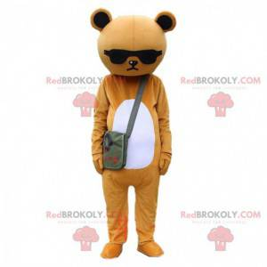 Brown and white sulky teddy bear costume with glasses -