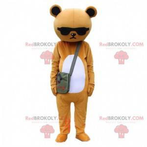 Fato de urso de pelúcia mal-humorado marrom e branco com óculos