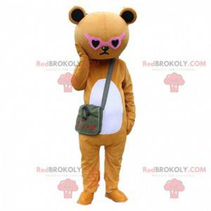 Brown sulky teddy bear costume with pink glasses -