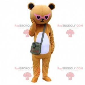 Fato de urso de peluche castanho mal-humorado com óculos rosa -