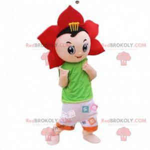 Disfraz de flor roja, disfraz de niño con pétalos -