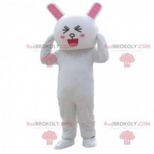 Amused looking white rabbit costume, bunny costume -
