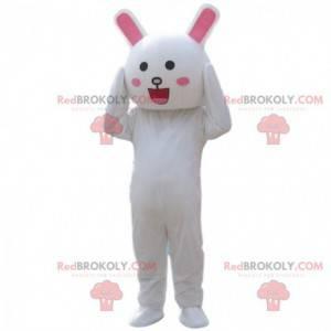 Fantasia de coelho branco sorridente, fantasia de coelho -