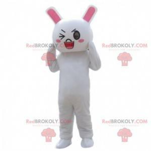 Knipogend konijnenkostuum, mascotte wit konijn - Redbrokoly.com