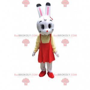 Fantasia de coelho com vestido, mascote coelho de pelúcia -