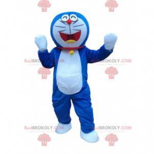 Doraemonský kostým, slavná modrá a bílá robotická kočka -