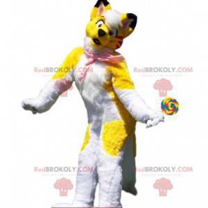 Fato de cachorro amarelo e branco, traje colorido de husky -