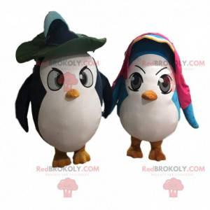 2 bardzo zabawne kostiumy pingwina, kilka pingwinów -