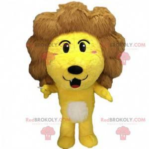 Fantasia de leão amarelo com uma grande juba marrom -