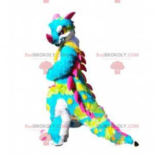 Mascote de dinossauro multicolorido, fantasia de dragão com