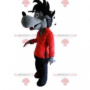 Šedý vlčí kostým v červené a černé barvě, vlčí kostým -
