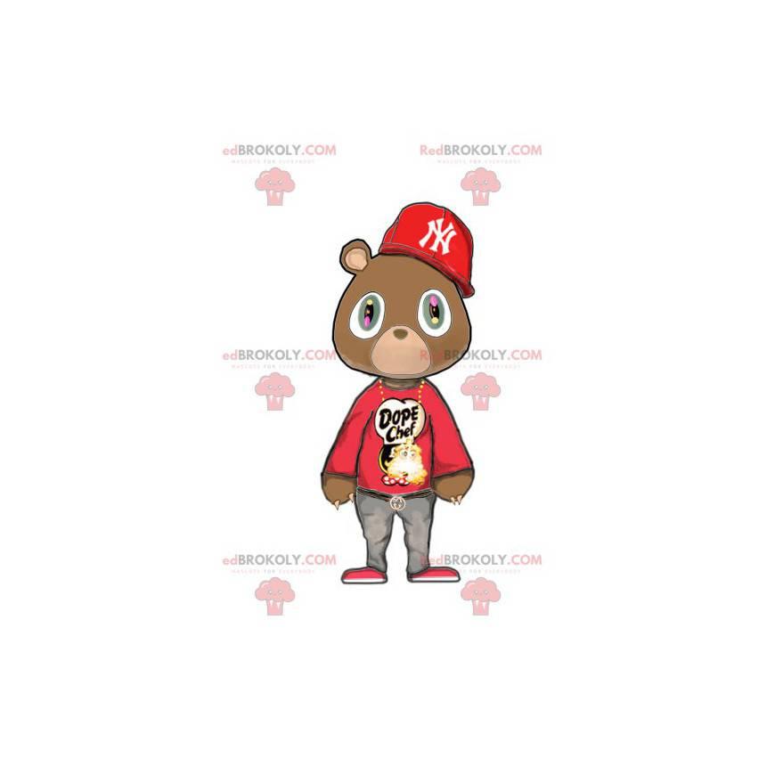 Braunbärenmaskottchen im roten Hip-Hop-Outfit - Redbrokoly.com