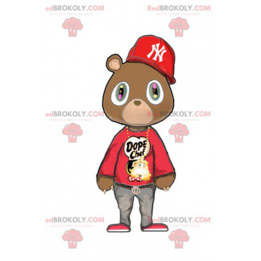 Maskot medvěd hnědý v červeném hip-hopovém oblečení -