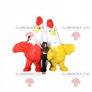2 mascotes de galinhas, galos infláveis bicolores -