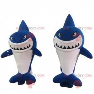 2 kæmpe haj kostumer, blå og hvid - Redbrokoly.com