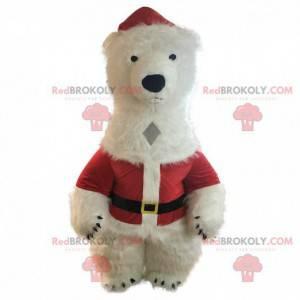 Opblaasbare witte teddybeer mascotte, verkleed als kerstman -