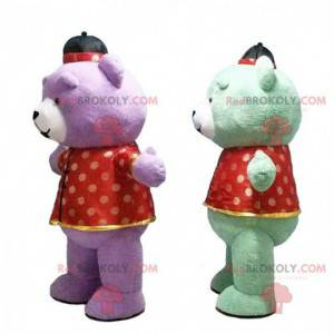 2 very colorful inflatable teddy bear costumes, giant mascots -