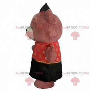 Opblaasbaar berenkostuum gekleed in Aziatische outfit -