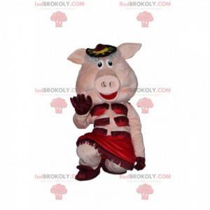 Cabaret pig mascot, cabaret disguise - Redbrokoly.com