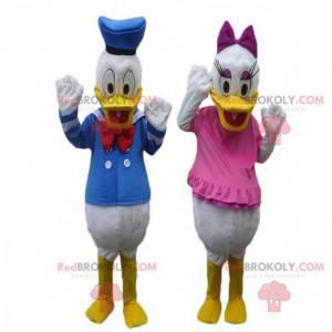 2 mascotes de Donald e Daisy, personagem da Disney -