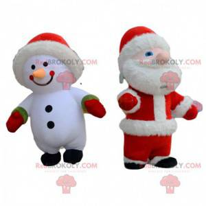2 inflatable costumes, a snowman and a Santa Claus -