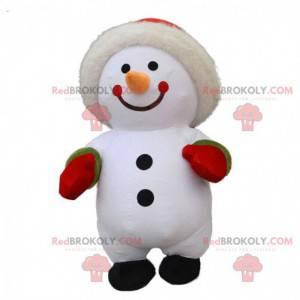 Fato inflável de boneco de neve grande, traje de inverno -