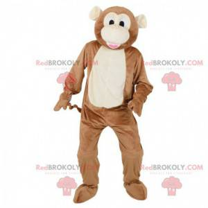 Brązowa i biała małpa maskotka - Redbrokoly.com