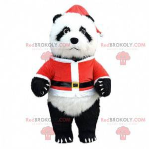 Nafukovací panda kostým oblečený jako Santa Claus, obří