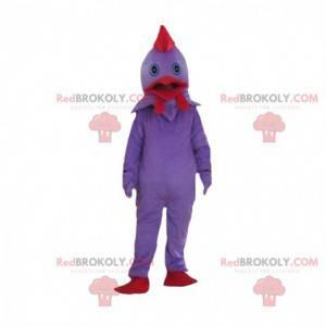Fialový a červený kuřecí kostým, barevný kohoutí kostým -