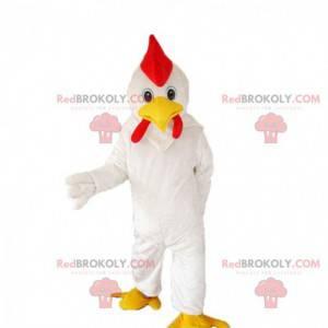 Fato gigante de galo branco, fantasia colorida de frango -