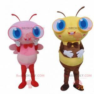 2 gigantische bijen vermommingen, kleurrijke bijenmascottes -