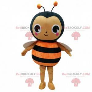 Oransje og svart bi-kostyme, flygende insektdrakt -