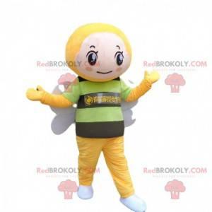 Disfraz de abeja gigante verde, amarilla y negra, mascota de