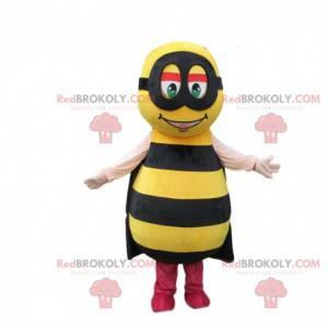 Mascota de abeja amarilla con rayas negras y una diadema -