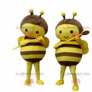 2 gele en bruine bijenmascottes, heel ontroerend -