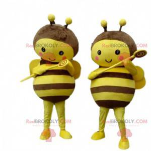 2 mascotas abejas amarillas y marrones, muy conmovedoras -